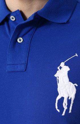 Мужское хлопковое поло POLO RALPH LAUREN синего цвета, арт. 710692227 | Фото 5