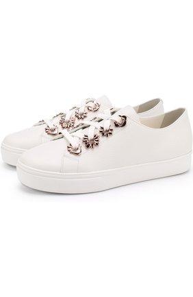 Кожаные кеды Penny Flower на шнуровке Sophia Webster белые | Фото №1