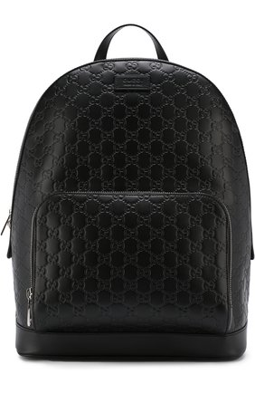 Кожаный рюкзак с тиснением Signature и внешним карманом на молнии | Фото №1