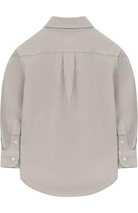 Детская хлопковая рубашка с воротником button down POLO RALPH LAUREN серого цвета, арт. 321683872 | Фото 2 (Материал внешний: Хлопок; Рукава: Длинные; Принт: Без принта; Случай: Повседневный)