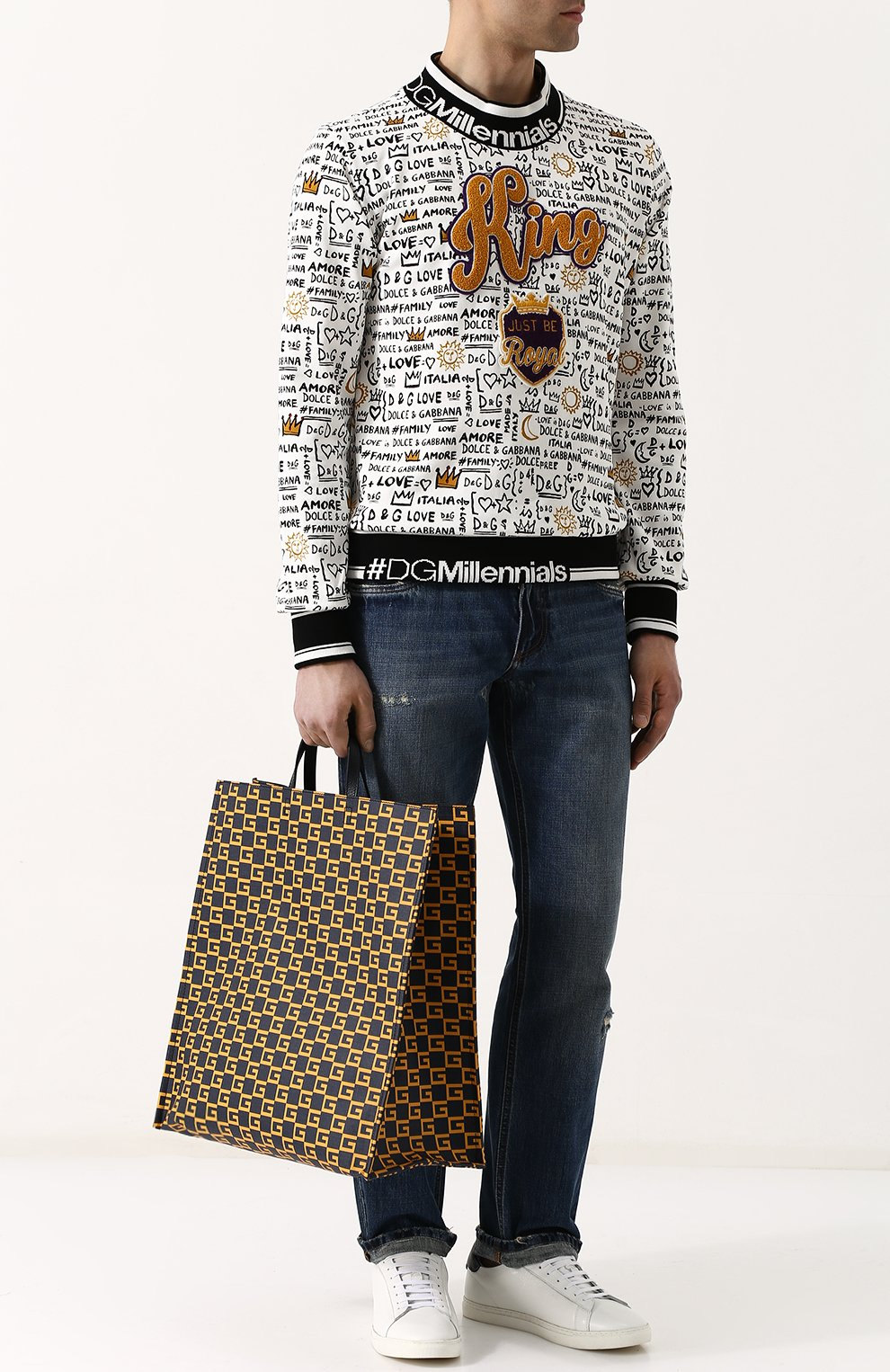 Мужская текстильная сумка-тоут  GUCCI темно-синего цвета, арт. 484690/9HNA0 | Фото 2