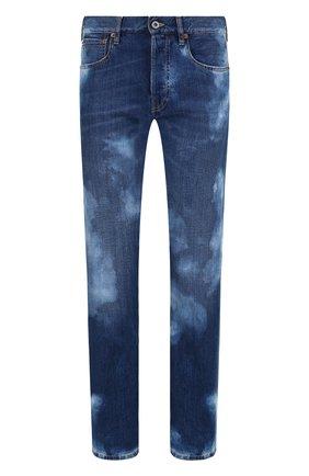 Женские джинсы прямого кроя с потертостями RALPH LAUREN синего цвета, арт. 290713824 | Фото 1