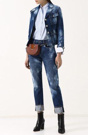 Женские джинсы прямого кроя с потертостями RALPH LAUREN синего цвета, арт. 290713824 | Фото 2