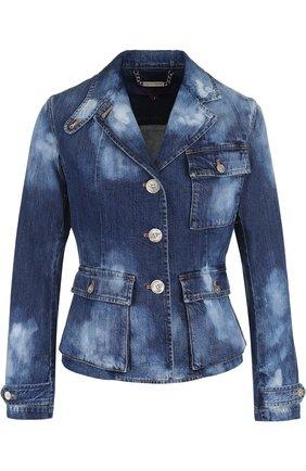 Приталенная джинсовая куртка с потертостями | Фото №1