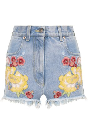 Женские джинсовые мини-шорты с контрастной вышивкой GUCCI голубого цвета, арт. 502779/XR959   Фото 1
