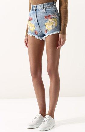 Женские джинсовые мини-шорты с контрастной вышивкой GUCCI голубого цвета, арт. 502779/XR959   Фото 3