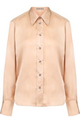 Однотонная приталенная блуза из шелка | Фото №1