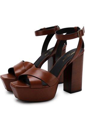 Кожаные босоножки Farrah на устойчивом каблуке и платформе | Фото №1