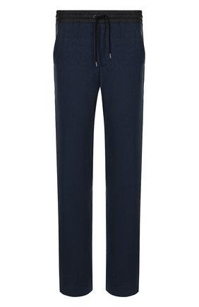 Мужской льняные брюки прямого кроя с поясом на кулиске GIORGIO ARMANI темно-синего цвета, арт. WSP02W/WS948 | Фото 1