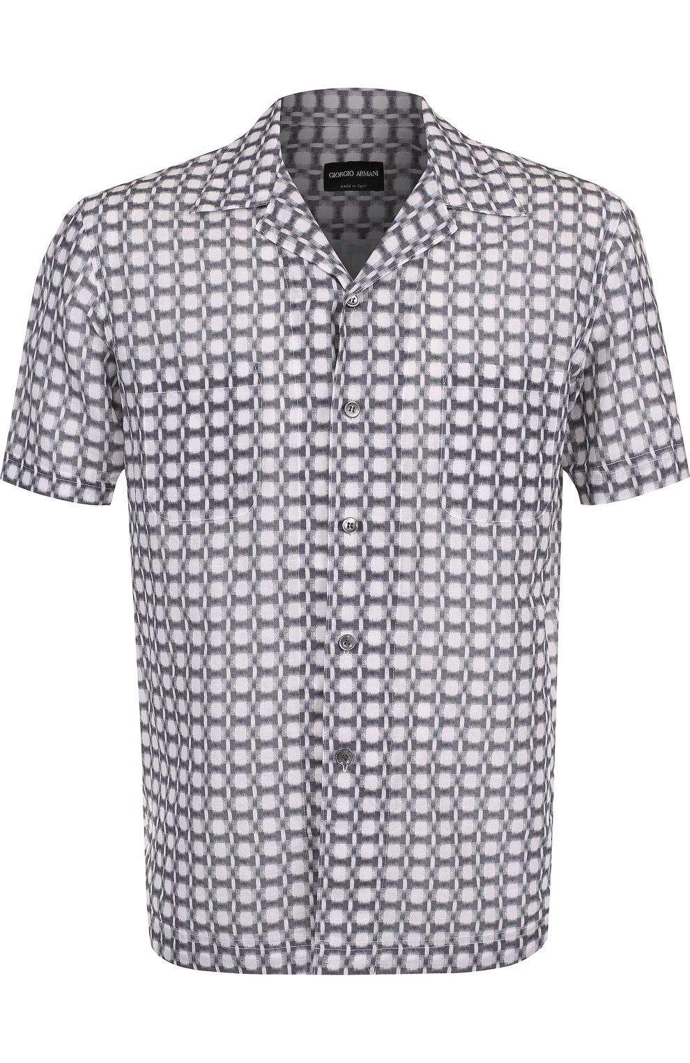 Мужская рубашка из смеси льна и хлопка GIORGIO ARMANI серого цвета, арт. WSC5VT/WS17C | Фото 1