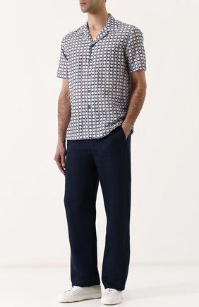 Мужская рубашка из смеси льна и хлопка GIORGIO ARMANI серого цвета, арт. WSC5VT/WS17C | Фото 2