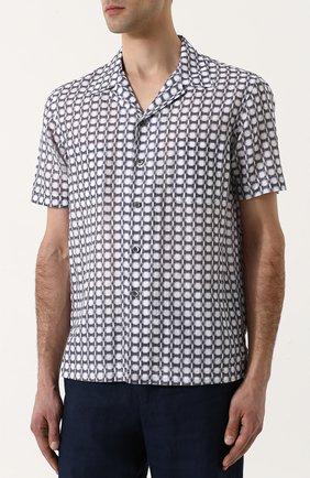 Мужская рубашка из смеси льна и хлопка GIORGIO ARMANI серого цвета, арт. WSC5VT/WS17C | Фото 3