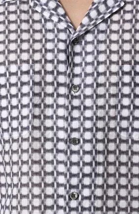 Мужская рубашка из смеси льна и хлопка GIORGIO ARMANI серого цвета, арт. WSC5VT/WS17C | Фото 5