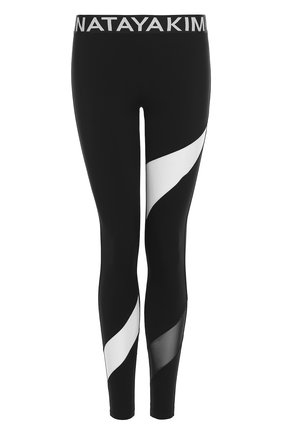 Спортивные леггинсы с прозрачными вставками NATAYAKIM черно-белого цвета | Фото №1