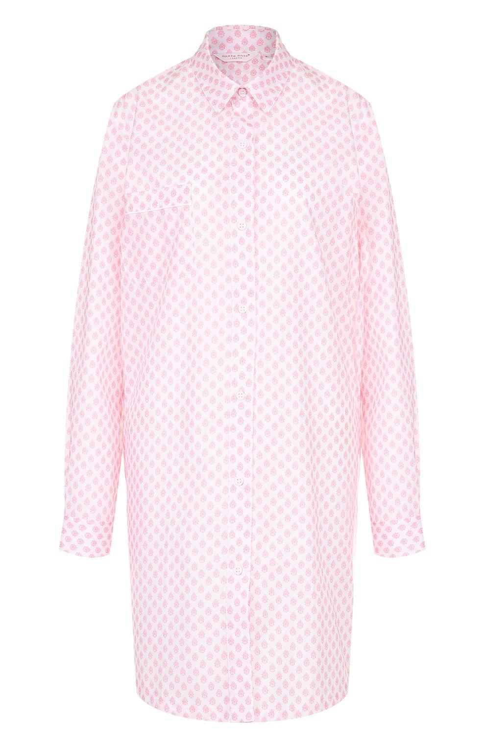 Женская хлопковая сорочка свободного кроя с принтом DEREK ROSE белого цвета, арт. 1191-LEDB009 | Фото 1