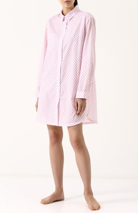 Женская хлопковая сорочка свободного кроя с принтом DEREK ROSE белого цвета, арт. 1191-LEDB009 | Фото 2