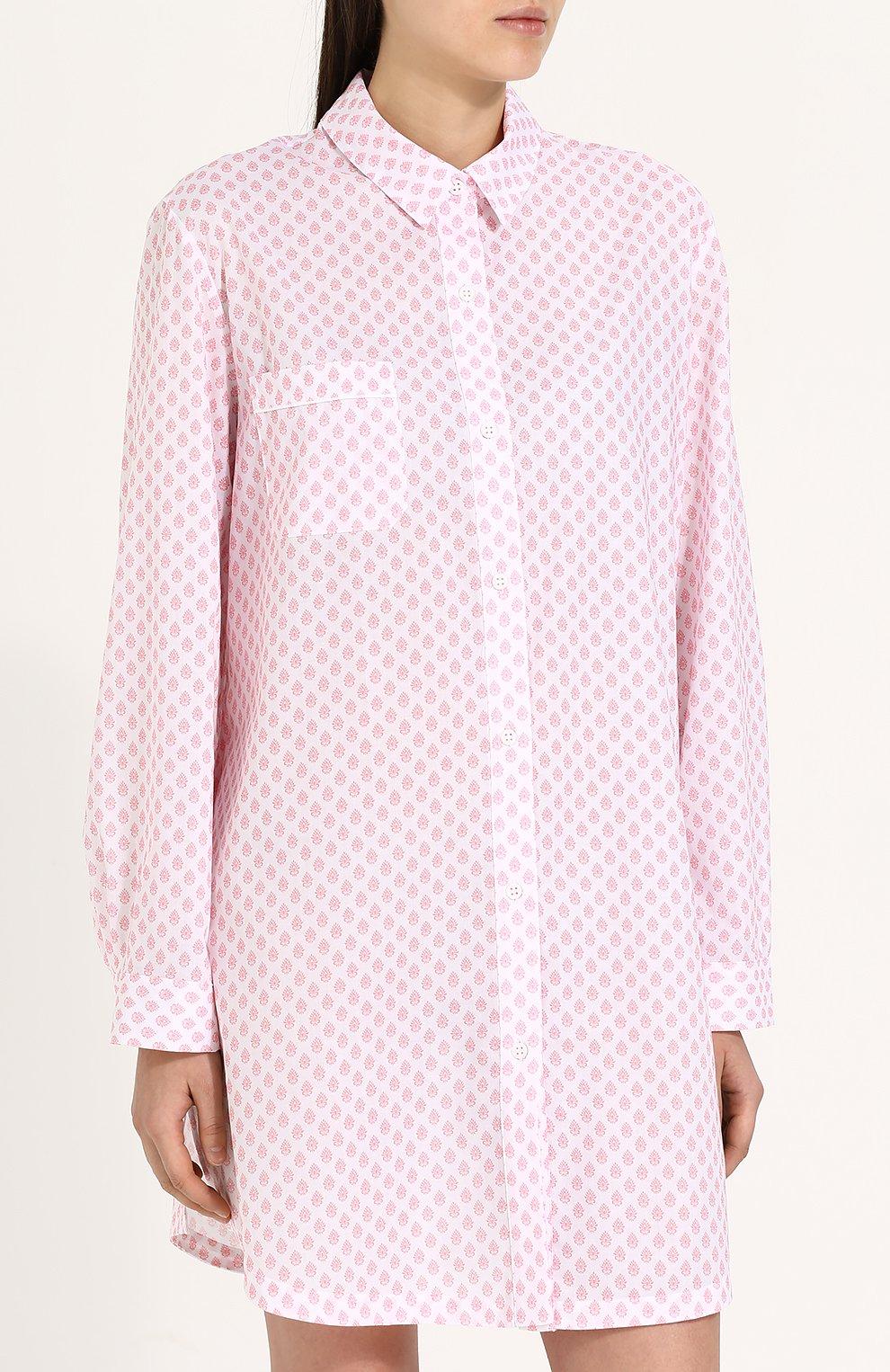 Женская хлопковая сорочка свободного кроя с принтом DEREK ROSE белого цвета, арт. 1191-LEDB009 | Фото 3
