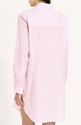 Женская хлопковая сорочка свободного кроя с принтом DEREK ROSE белого цвета, арт. 1191-LEDB009 | Фото 4