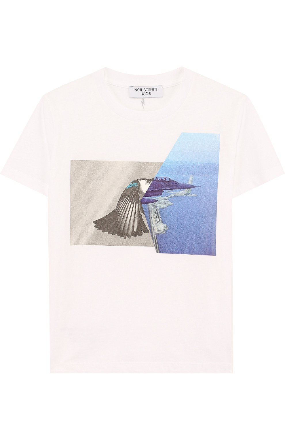 Детская хлопковая футболка с принтом NEIL BARRETT KIDS белого цвета, арт. 013428 | Фото 1