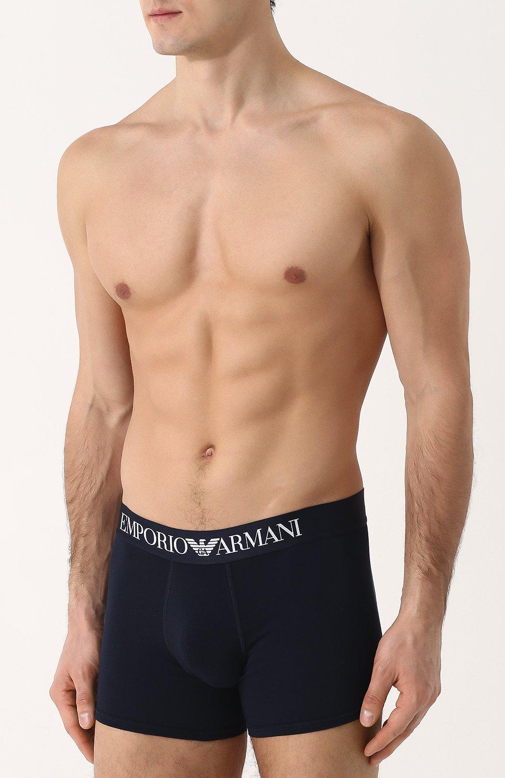 Мужские хлопковые боксеры с широкой резинкой EMPORIO ARMANI темно-синего цвета, арт. 110818/8P729 | Фото 2