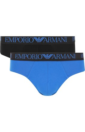 Мужские комплект из двух хлопковых брифов с широкой резинкой EMPORIO ARMANI синего цвета, арт. 111733/8P720 | Фото 1