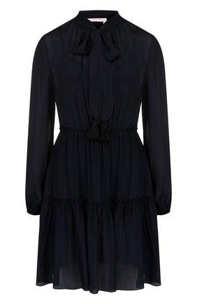 Приталенное хлопковое мини-платье   Фото №1