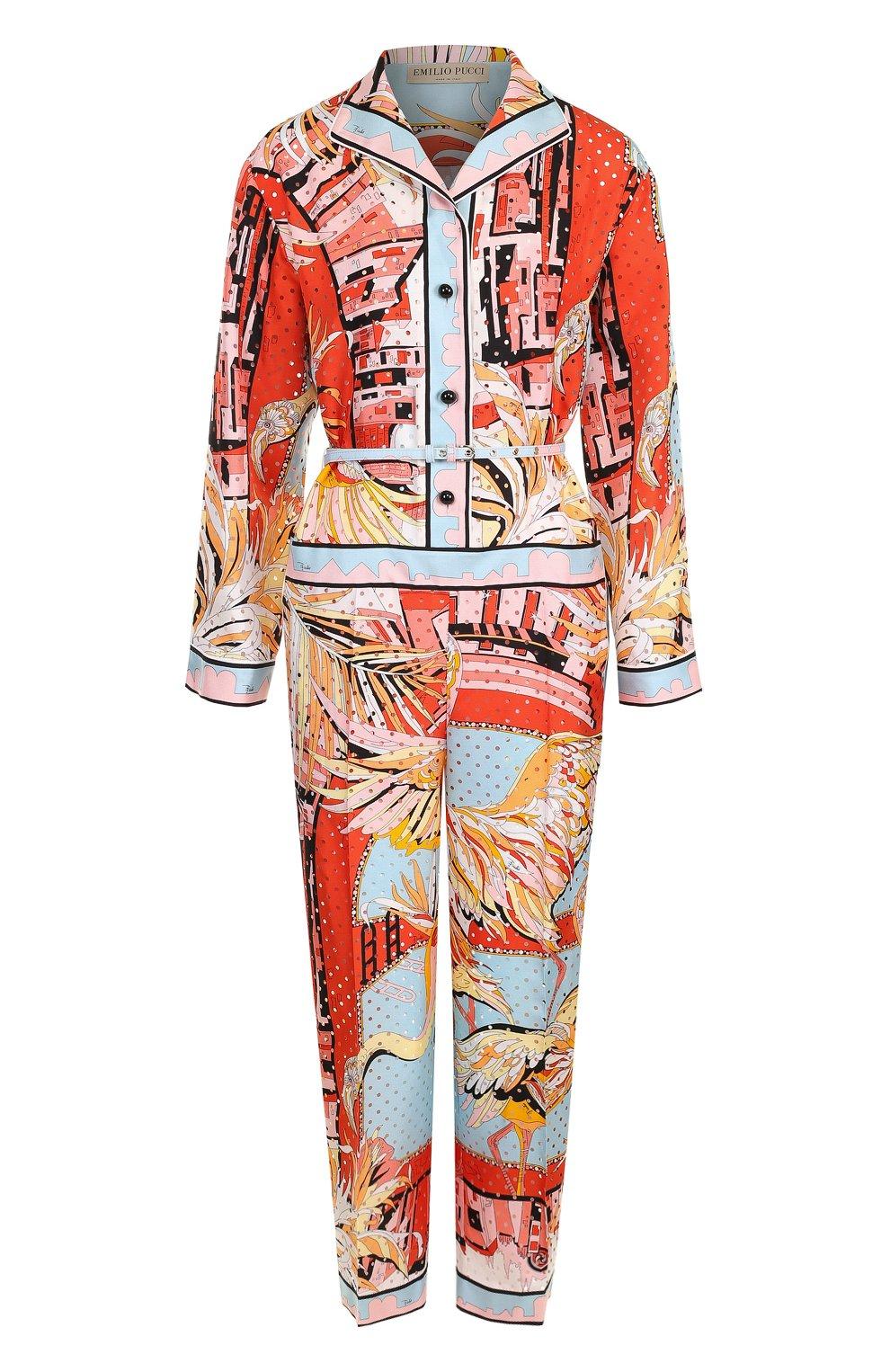 Женский шелковый комбинезон с принтом и поясом EMILIO PUCCI разноцветного цвета, арт. 82RI11/82731 | Фото 1