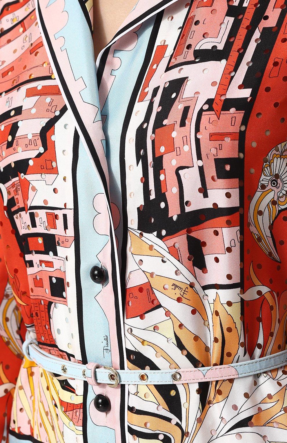 Женский шелковый комбинезон с принтом и поясом EMILIO PUCCI разноцветного цвета, арт. 82RI11/82731 | Фото 5