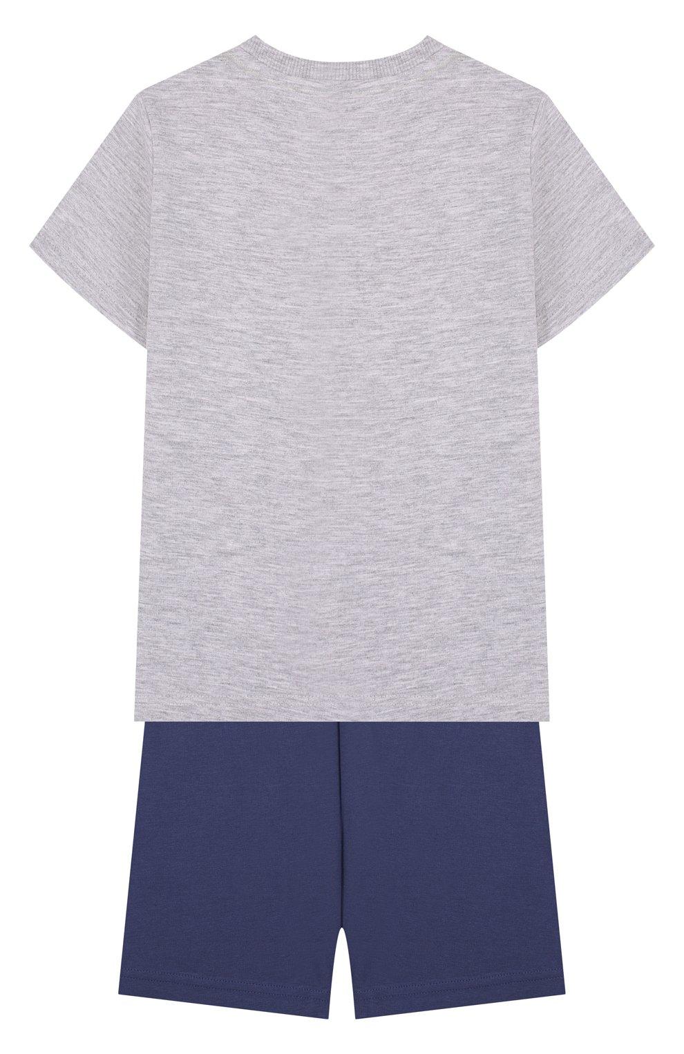 Хлопковая пижама с принтом Sanetta серого цвета | Фото №2