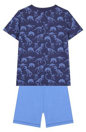 Хлопковая пижама с принтом Sanetta синего цвета | Фото №1