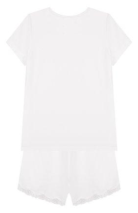 Пижама из смеси хлопка и вискозы с кружевной отделкой Sanetta бежевого цвета | Фото №1