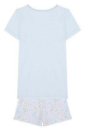 Хлопковая пижама с принтом Sanetta голубого цвета | Фото №1