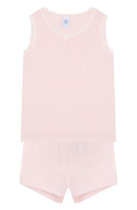 Пижама из смеси хлопка и вискозы с кружевной отделкой Sanetta розового цвета | Фото №1