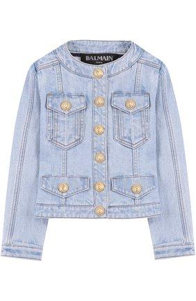 Джинсовая куртка с круглым вырезом и декоративными пуговицами | Фото №1