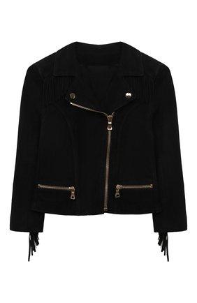 Замшевая куртка с косой молнией и отложным воротником | Фото №1