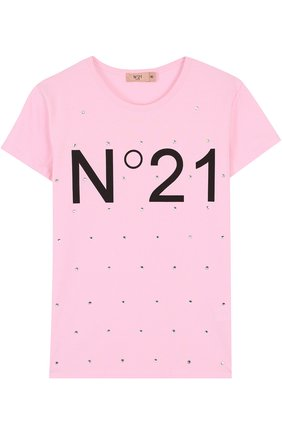 Хлопковая футболка с логотипом бренда и стразами | Фото №1