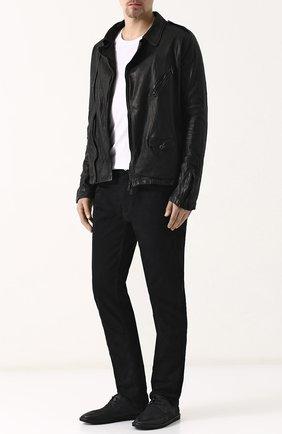 Кожаная куртка на молнии Giorgio Brato черная | Фото №1