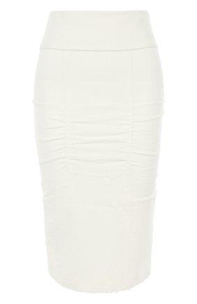 Однотонная юбка-карандаш с драпировкой | Фото №1