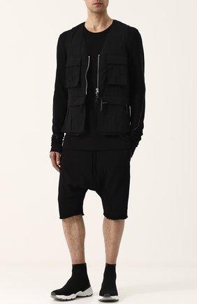 Хлопковые шорты с заниженной линией шага Thom Krom черные | Фото №1