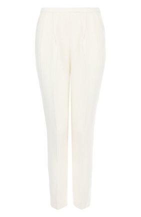 Укороченные однотонные брюки с защипами | Фото №1