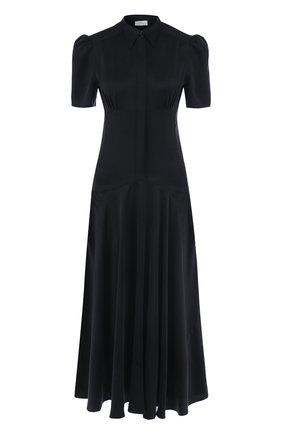 Однотонное шелковое платье-миди   Фото №1