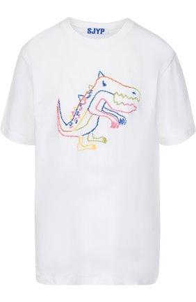 Хлопковая футболка свободного кроя с вышивкой | Фото №1