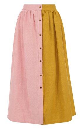 Хлопковая юбка-миди с широким поясом | Фото №1