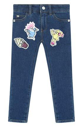Детские джинсы прямого кроя с аппликациями KENZO синего цвета, арт. KL22008/3A-6A | Фото 1