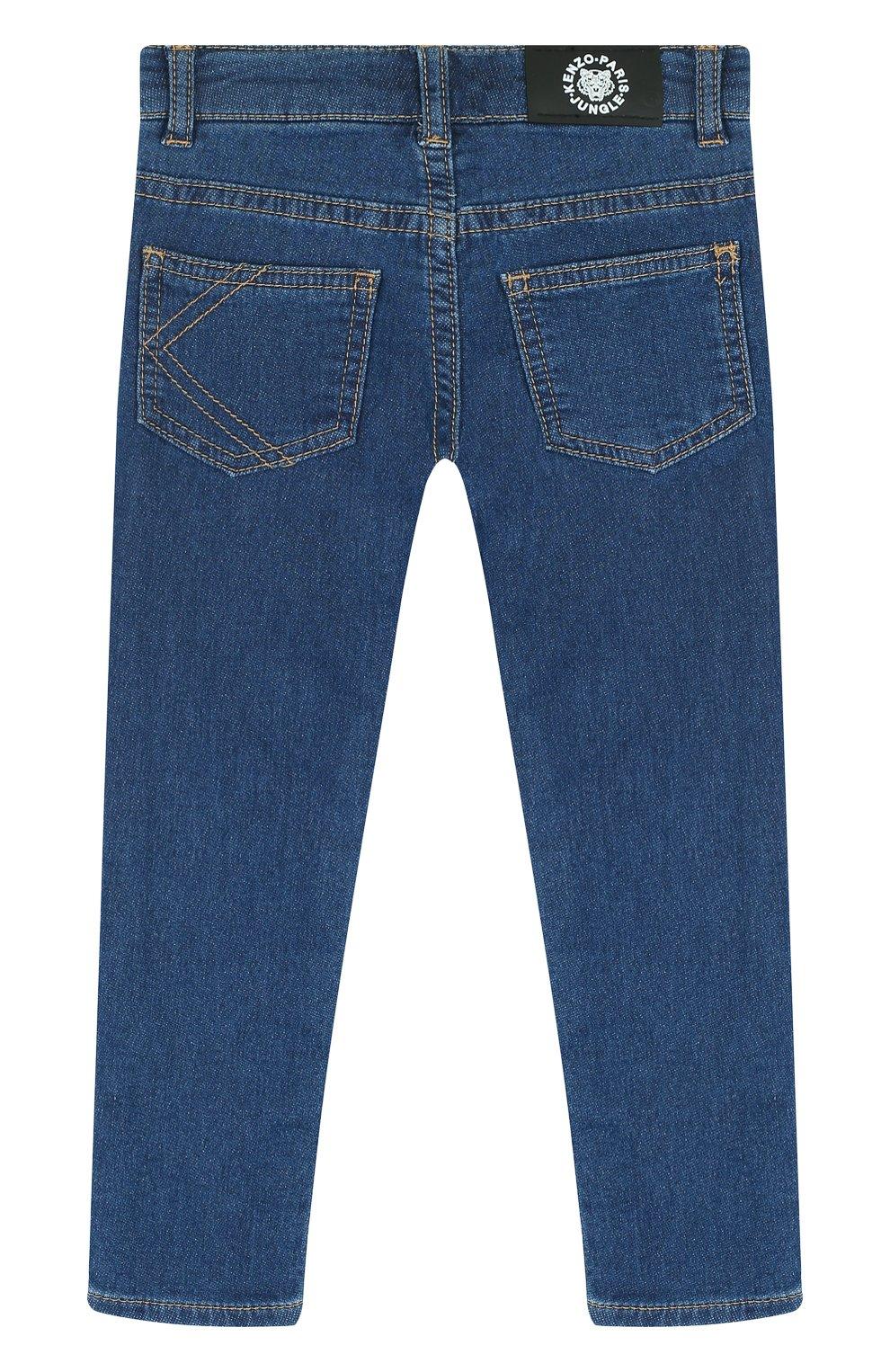 Детские джинсы прямого кроя с аппликациями KENZO синего цвета, арт. KL22008/3A-6A | Фото 2