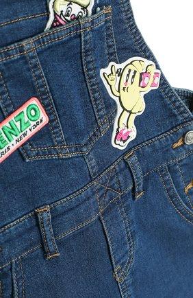 Детское джинсовый сарафан с аппликациями KENZO синего цвета, арт. KL30108/8A-12A | Фото 3