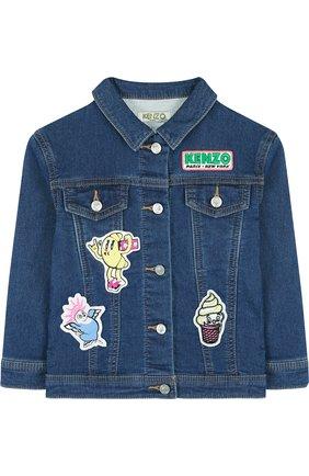 Детская джинсовая куртка с аппликациями KENZO синего цвета, арт. KL41008/3A-6A | Фото 1