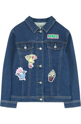 Детская джинсовая куртка с аппликациями KENZO синего цвета, арт. KL41008/8A-12A | Фото 1