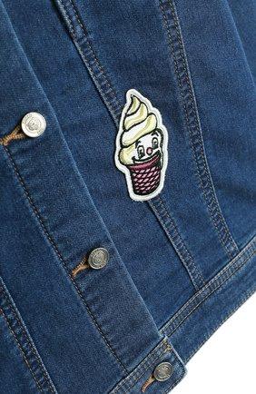Детская джинсовая куртка с аппликациями KENZO синего цвета, арт. KL41008/8A-12A | Фото 3