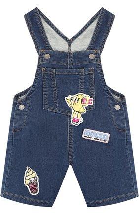 Детский джинсовый комбинезон с аппликациями KENZO синего цвета, арт. KL21007/2A | Фото 1